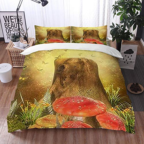 Mingdao bedding - Duvet Cover Set, Fairytale World elf Butterfly Old Tree Root red Mushroom Plant,Microfibre Duvet Cover Set 220 x 240 cmwith 2 Pillowcase 50 X 80cm
