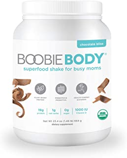 Boobie Body Organic Superfood Plant-Based Protein Shake, Chocolate Bliss, [23.4oz, 1 Tub]