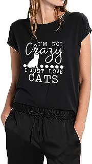 ZJP Women I'm NOT Crazy I JUST Love Cats Letter Cat Print T-Shirt Casual Top Tee