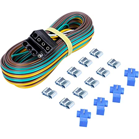 Amazon.com: CZC AUTO Trailer Wiring Harness Kit 4-Way Wishbone Style, Y  Style 18AWG Pure Copper Core Color Coded Wire with Standard 4-pin Flat Plug  Connector, 4' Female and 25' Male for 12V   Wishbone Wire Harness      Amazon.com