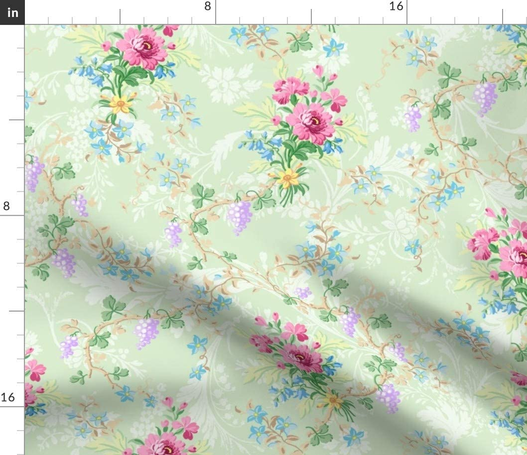 Spoonflower Fabric - specialty shop Green Flowers Max 89% OFF Vintage Floral Roses Wedding