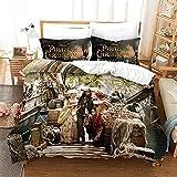 BMKJ Juego de ropa de cama infantil con diseño de Piratas del Caribe, 3 fundas de edredón y 2 fundas de almohada (220 x 240 + 2 x 50 x 75 cm)
