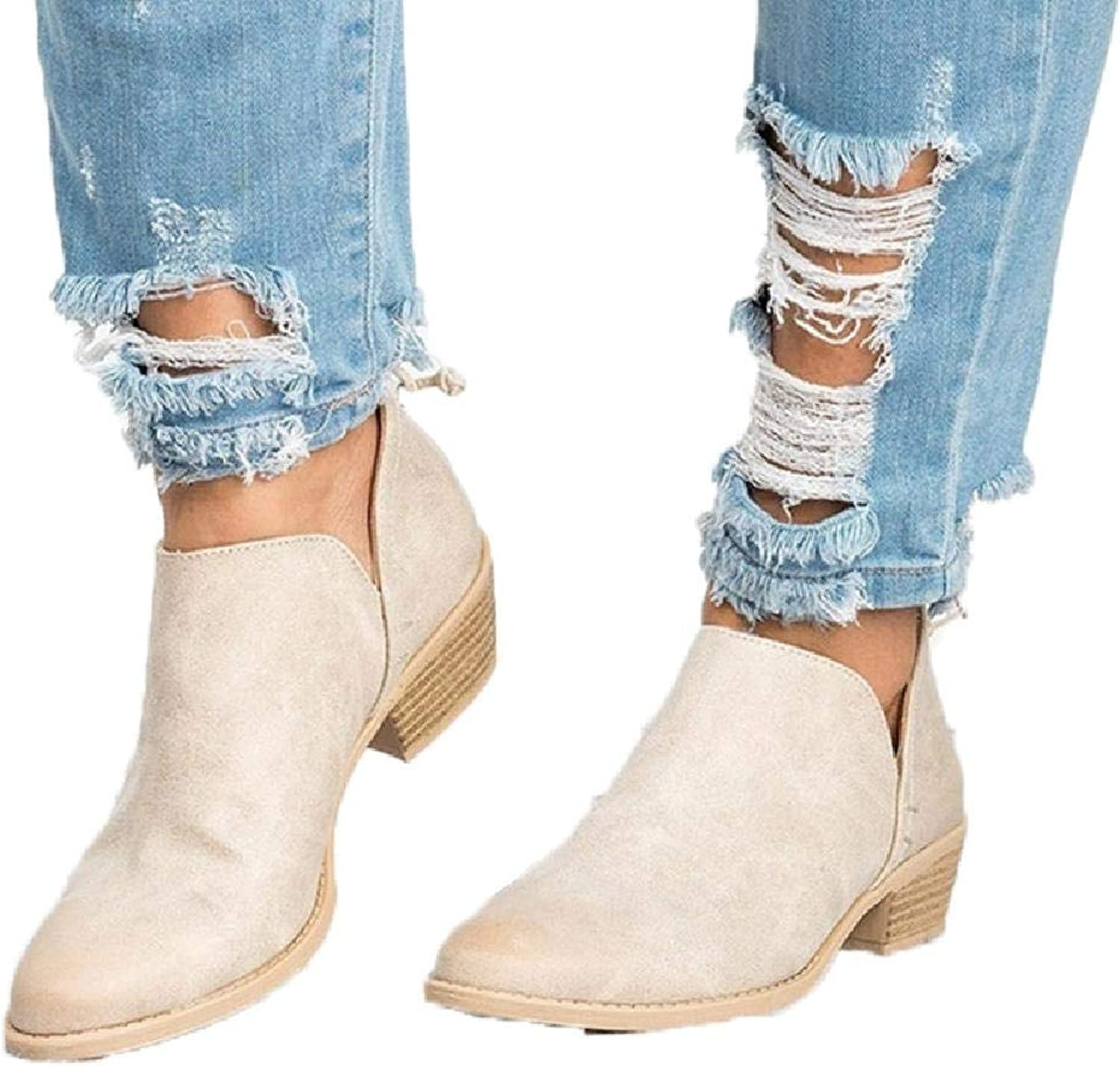 MZjJPN Autumn Women Pumps Low Heels Casual shoes Chunky Heel Solid Ankle Boots Concise shoes Footwear
