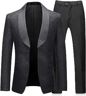 Boyland Men's 2 Piece Tuxedos Suits Blazer Vintage Groomsmen Wedding Suit Complete Outfits (Blazer+Trousers)