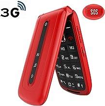 $38 » Ushining Unlocked Flip Phone 3G Dual SIM Card 2.4'' Flip Cell Phones Unlocked SOS Button Easy to Use Mobile Phone for Elderly & Kids (Red)
