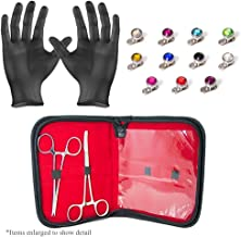 EG GIFTS Professional Dermal Anchor Piercing Kit 2 Stainless Steel Forceps with 22 Dermal Anchors 316L Jewelry and Gloves