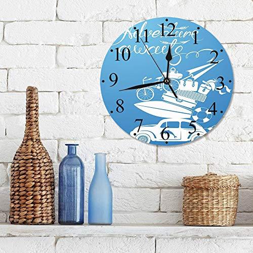 Silencioso Wall Clock Decoración de hogar de Reloj de Redondo,Aventura, Aventura espera cita con artículos de vacaciones de verano Tabla de surf Coche vi,para Hogar, Sala de Estar, el Aula