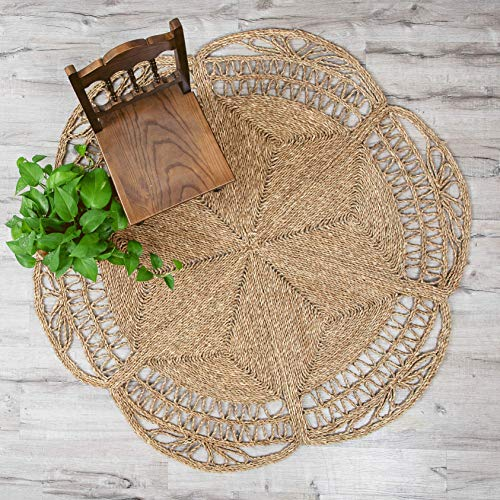 Artera Handmade Star-Shaped Woven Seagrass Rugs, 5' Round, Anti-Slip Circular Natural Fiber Wicker Rugs for Bohemian Decor, House Decor in All Rooms (5' Round)
