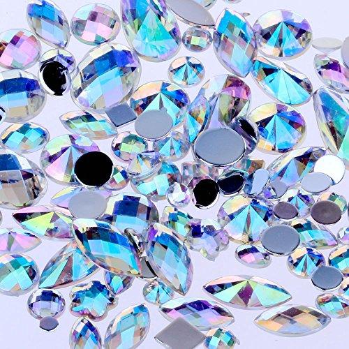 Mix Sizes 300pcs Crystal Clear AB Nail Art Rhinestones DIY Non Hotfix Flatback Acrylic Nail Stones Gems for 3D Nails Art Decorations (Clear AB)