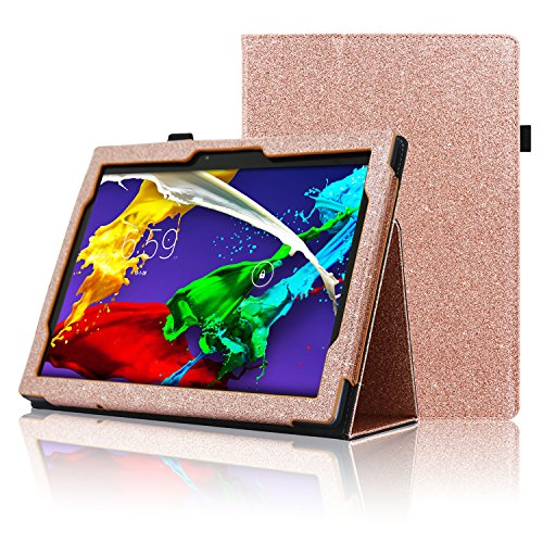 ACdream Lenovo Tab 2 A10 & Lenovo Tab3 10 Business Case, Stand Leather Cover Case for Lenovo Tab 2 A10-70 & Lenovo Tab3 10 Business Case with auto Wake Sleep Feature, (Rose Gold Star of Paris)