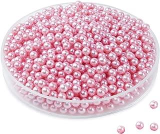 Makeup Pearls Round Beads Art Faux Beans Filling & Decorate Makeup Brush Lipstick Holder Box, 6mm 1300pcs (Pink)