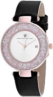 Christian Van Sant Women's Dazzle Stainless Steel Quartz Leather Strap, Black, 16 Casual Watch (Model: CV1224)