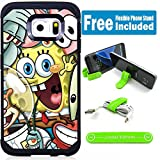 Galaxy S7 Edge Hybrid Case Cover with Flexible Phone Stand - Sponge Bob Friends