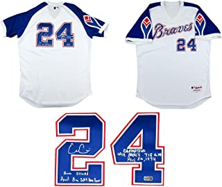 Evan Gattis Autographed/Signed Game Issued Atlanta Braves Throwback Hank Aaron Style Majestic Authentic MLB Jersey with