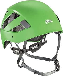 green petzl helmet