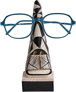 storeindya Wooden Spectacle Sunglasses Holder Stand Eyeglass Holder Hand Carved Display Stand -Unique Office Desk Handmade Home Décor Decorative & Creative Gifts (Abstract Aztec Nose Pattern)
