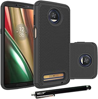 Moto Z3 Play Case, Moto Z3 Case, MELOP Shockproof Heavy Duty Drop Protection Hybrid Dual Layer Defender Ultra Protective Case Cover Shell for 2018 Motorola Moto Z3 Play - Black