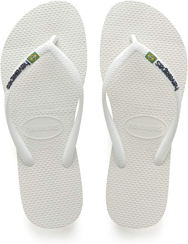 Havaianas Womens White Slim Brasil Logo Flip Flops