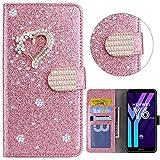 Portafoglio Huawei Y6 2018/Honor 7A Glitter Custodia Libro Pelle con 3D Little love Wallet Flip Cover Case Or Rose PU Brillantini Strass Stand Carta Slot Lady Girl Elegante Trendy Chic Phone Case