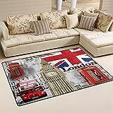 Naanle - Alfombra antideslizante para salón, comedor, dormitorio, cocina, 50 x 80 cm, diseño de la bandera británica de Londres, multicolor, 100 x 150 cm(3' x 5')
