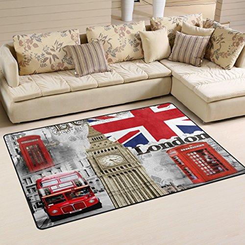 Naanle Tapis antidérapant à motif drapeau anglais Londres et Big Ben Pour salon salle à manger chambre cuisine ou pour yoga 50 x 80cm, multicolore, 100 x 150 cm(3' x 5')