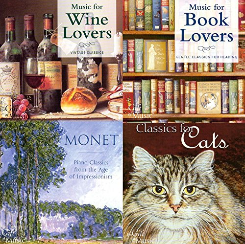 BEST MOM - MOTHER'S DAY GIFTS - SET OF 4 SOOTHING, RELAXING FOR BOOK OR WINE LOVERS, CLASSICAL CATS AND MONET - FREE CD INCLUDED {jg} Great for mom, dad, sister, brother, grandparents, aunt, uncle, cousin, grandchildren, grandma, grandpa, wife, husband, relatives and friend.