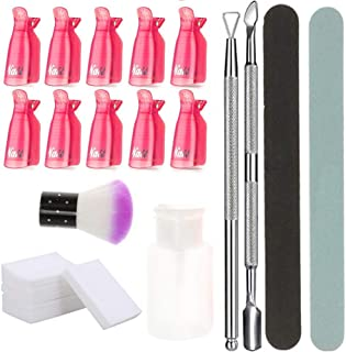 Nail Remover Kit,Anself Gel Nail Polish Remover Tool with Wipe Cotton Pads, 10 Pcs Nail Clips Caps, 2 Pcs Nail File, Triangle Cuticle Pusher and Cutter Set, Nail Brush, Push Down Pump Dispenser Bottle