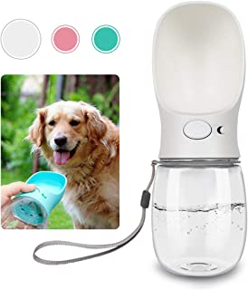 QQPETS Dog Water Bottle for Walking, Dispenser Pet Portable Dogs Cats 12OZ Travel Drink Bottle Bowls BPA Freee,Leak Proof,Food Grade