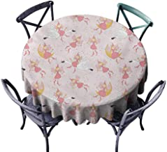 Lcxzjgk Washable Tablecloth Princess Pattern with Flying Fairies Setting on Moon Riding Swan Magical Stick Rose Earth Yellow Pink and Durable D39