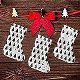 FULIYA (3 paquetes) calcetines de Navidad de 19 cm, siluetas de árbol de invierno con manchas desiguales y manchas de pintura, decoraciones de fiesta de Navidad