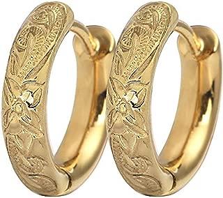 Hoop Earrings Hawaiian Style by Austaras - Set of Two Earrings 14K Gold Plated 13mm Hypoallergenic 316L Stainless Steel Jewelry Plumeria Flower
