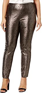 Womens Plus Metallic Comfort Waist Skinny Pants