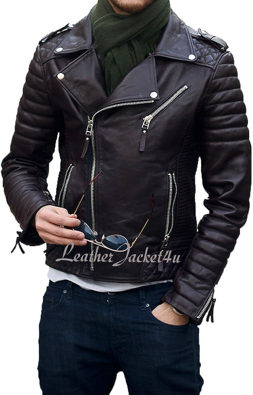 Men's Stylish Lambskin Genuine Leather Motorcycle Biker Leather Jacket 185