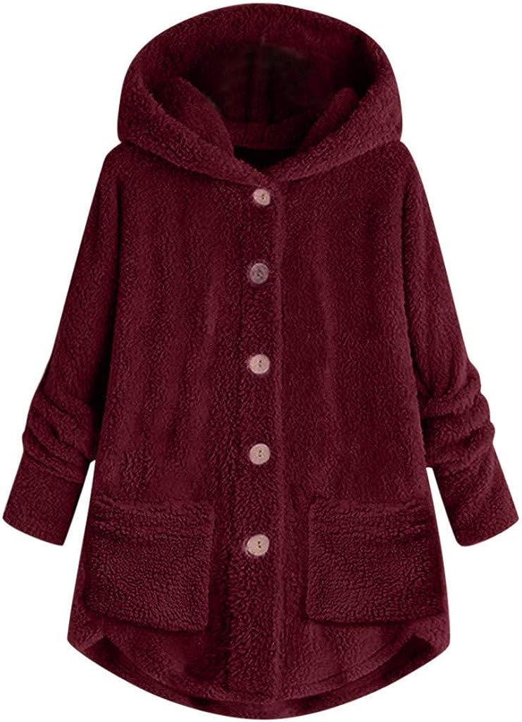 VISLINDU Womens Fuzzy Fleece Sweatshirt Casual Hoodies Solid Sherpa Sweater Pullover Jacket Outwear Coat with Pockets