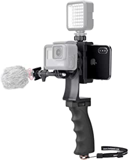 2in1 Portable Action Camera+Smartphone SYN Stabilizer Mount Ergonomic Hand Grip Video Vlogging Kit Motion Camcorder Phone Handle Holder for GoPro Sony + iPhone Interview Travel YouTube Livestream Rig