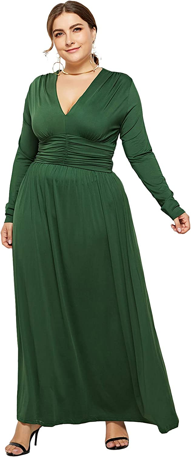 Plus Size Maxi Dresses Long-Sleeve 1 year warranty Winter - Ruched Fall Omaha Mall