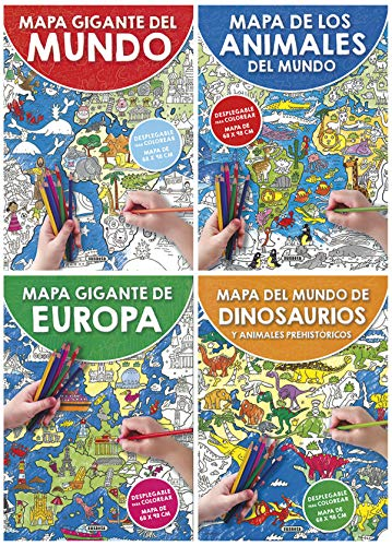 Mapa gigante para colorear (4 títulos) (Mapas gigantes para colorear)