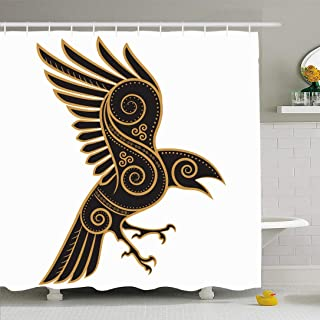Ahawoso Shower Curtain for Bathroom 66x72 Viking Odins Paganism Raven Handdrawn Celtic Vintage Crow Silhouette Odin Pattern One Abstract Bird Waterproof Polyester Fabric Bath Decor Set with Hooks