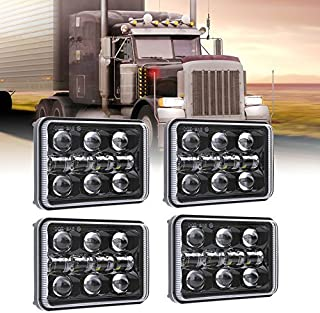 Dot Approved 4x6 Inch 60W Rectangular LED Headlights Hi/Lo Sealed Beam Replacement H4651 H4656 Hid Bulb Headlamps for KW Kenworth T600 W900 T800 Truck Peterbilt 379 Chevy S10-Black 4 Pcs