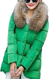 maweisong レディース冬フォークスファーフードダウンパーカースリムジャケットコート