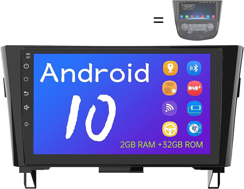AWESAFE Android 10.0 [2GB+32GB] Radio Coche para Qashqai J11 X-Trail T32 2014-2017, 9 Pulgadas Pantalla Android para Coche con WiFi/Bluetooth/GPS/FM/USB/RCA, Apoyo Mandos Volante, Aparcamiento
