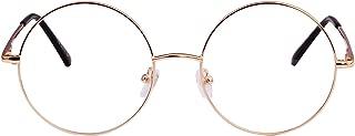 Agstum Retro Small Round Prescription ready Metal Large Eyeglasses Frame Clear Lens