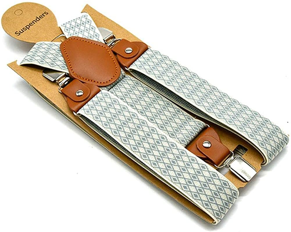 Suspender Pants For Men Women Wide 3.5Cm 3 Clips Straps Beige Jacquard Adjustable Male Suspenders