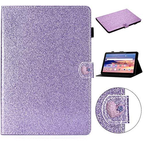 MDYHMC YXCY AYDD - Funda de piel con tapa horizontal para Huawei MediaPad T5 de 10 pulgadas con hebilla de polvo y ranuras para tarjetas (color: morado)