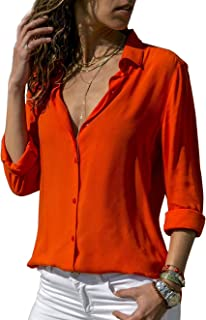 grand choix de 2019 dernière vente sortie de gros Amazon.fr : chemisier femme chic - Orange / Femme : Vêtements
