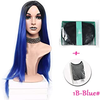 Chibi-store Long Straight Heat Resistant Synthetic Two Tone Wigs For Women 30 inch 7 colors,BLUE-JY,30inches,1