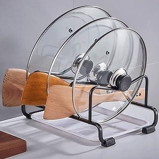 Porte-ustensiles étagères 3 couches en métal Pan Organisateur rack Cuisine Rack avec l'eau Countertop Plateau multi-usages...