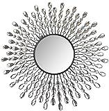 Lulu Decor, 23.50' Crystal Drop Wall Mirror, 9' Round Beveled Mirror Handmade for Living Room & Bedroom