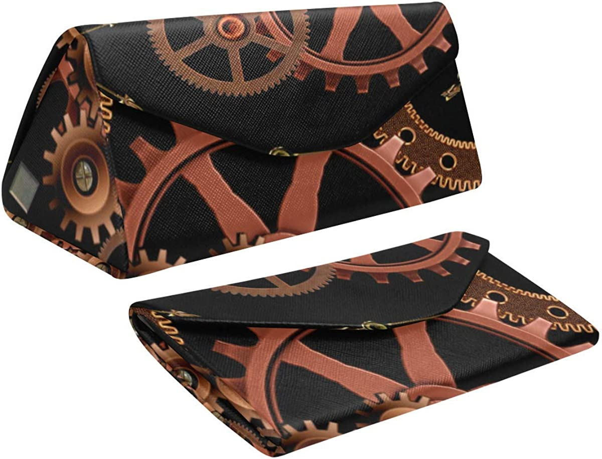 Eyeglass Cases Custom Gear Steampunk Painted Hard Shell Foldable Portable Glasses Case
