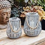 Lights4fun 2er Set Graue Bambus Laternen inkl. TruGlow® Kerzen mit Timer für Innen & Außen